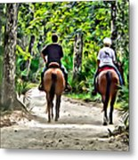 Riding In The Woods Metal Print