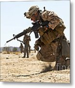 Rifleman Kneels To The Ground While Metal Print