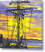 Rigging In The Sunset Metal Print