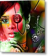 Rihanna Over Rihanna Metal Print