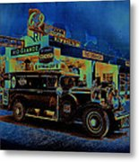 Rio Grande Homage 1950  Gas Station And Vehicle C.1935 Metal Print