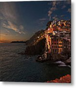 Riomaggiore Peaceful Sunset Metal Print by Mike Reid