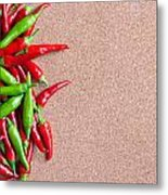 Ripe Red And Green Chillies On Cork Board Metal Print