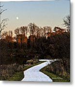 Rising Moon Fishing Metal Print