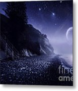 Rising Moon Over Ocean And Mountains Metal Print by Evgeny Kuklev