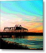 Rising Sun On The Mokelumne River Metal Print