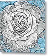 Ritzy Rose With Ink And Blue Background Metal Print