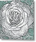 Ritzy Rose With Ink And Green Background Metal Print