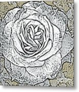 Ritzy Rose With Ink And Taupe Background Metal Print