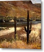 River And Cactus Metal Print