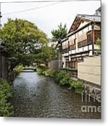 River And Houses In Kyoto Japan Metal Print