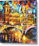 River City - Palette Knife Oil Painting On Canvas By Leonid Afremov Metal Print