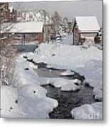 River Flowing Under A Bridge Metal Print