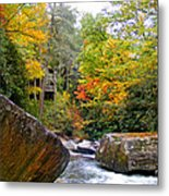 River House In The Fall Metal Print