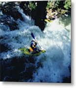River Kayaking Over Waterfall, Crested Metal Print
