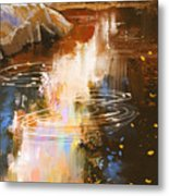 River Lines With Stones In Autumn Metal Print