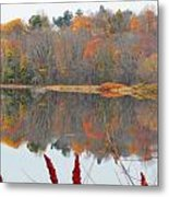 River Mirror Autumn Metal Print