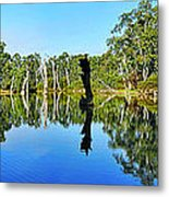 River Panorama And Reflections Metal Print by Kaye Menner