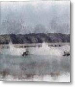River Speed Boat Racing Photo Art Metal Print