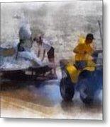 River Speed Boat White Photo Art Metal Print