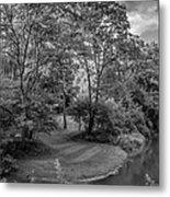 River Tranquility Monochrome Metal Print