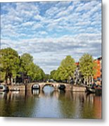 River View Of Amsterdam In The Netherlands Metal Print