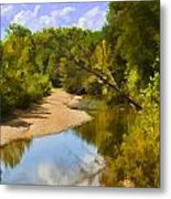River View With Reflections - Digital Paint Metal Print