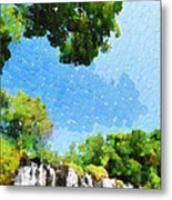 River Waterfall Painting Metal Print