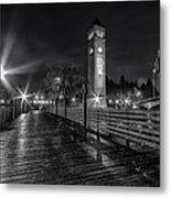 Riverfront Park Clocktower Seahawks Black And White Metal Print