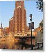 Riverwalk And Lamp Post Metal Print