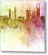 Riyadh Skyline In Watercolour Background  Metal Print