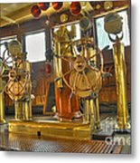 Rms Queen Mary Bridge Well-polished Brass Annunciator Controls And Steering Wheels Metal Print