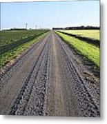 Road Across North Dakota Prairie Metal Print