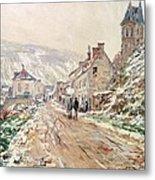 Road In Vetheuil In Winter Metal Print