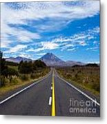 Road Leading To Active Volcanoe Mt Ngauruhoe Nz Metal Print