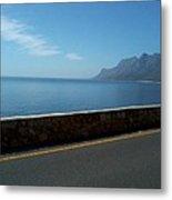 Road Mountain Sea And Sky Metal Print