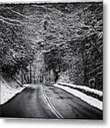 Road Through Dark Snowy Forest E93 Metal Print