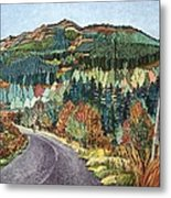 Road To Torloisk, 2008 Wc And Ink Metal Print