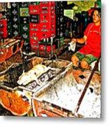 Roasting A Suckling Pig Streetside In Saigon-vietnam  Metal Print