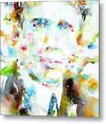 Robert Frost . Watercolor Portrait Metal Print