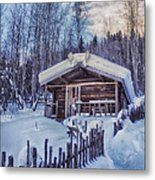Robert Service Cabin Winter Idyll Metal Print by Priska Wettstein