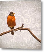 Robin With Damask Background Metal Print