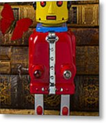 Robot With Butterfly Metal Print