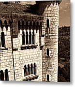 Rocamadour Stone Tower Vertical Panorama Sepia Metal Print