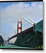 Rock And Golden Gate Metal Print