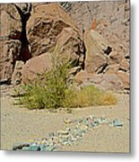 Rock Arrow And Terry Directing Into Ladder Canyon From Big Painted Canyon Trail In Mecca Hills-ca  Metal Print