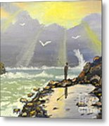 Rock Fishing At Wombarra  Metal Print