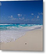 Rock Formation On The Coast, Cancun Metal Print