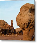 Rock Formations And Abandoned Building Metal Print
