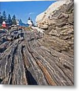 Rock Formations At Pemaquid Point Light Metal Print